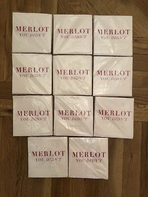 C R Gibson Merlot You Didn't Napkins Lot Of 11 Sets Of 20 Each New