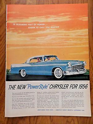 1956 Chrysler Windsor Newport Ad PowerstyleStardust Blue & Cloud White