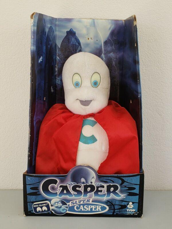 "1994 Tyco Super Casper Friendly Ghost 14"" Plush W/Box Nite Glow Eyes Rare VHTF"