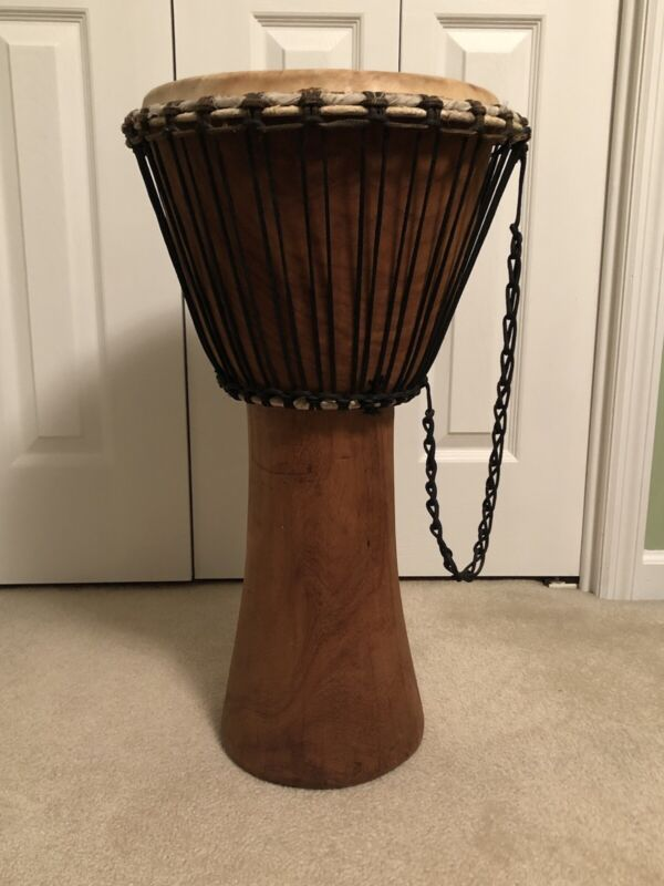 Hand Carved Wood Djembe Drum 12x25