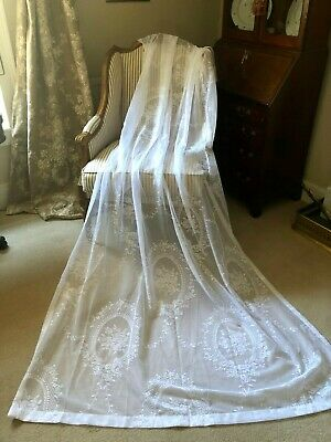"""LAST PAIR! STUNNING HUGE NEW 52""""X94"""" FRENCH VINTAGE STYLE LACE/NET CURTAINS"""