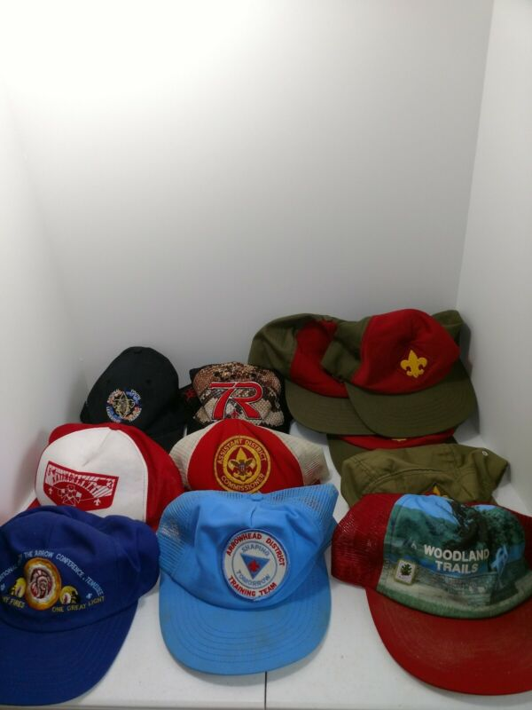 Vintage Set Of 11 Boy Scout Activity And Leadership Hats