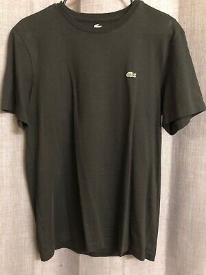 Lacoste Mens T-Shirt Black Size 4 Medium Short Sleeve V Neck T shirt