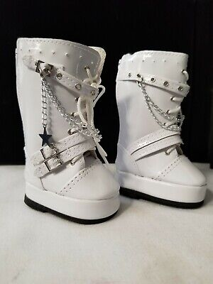 White Go Go Boots with Chains Shoes made for 18