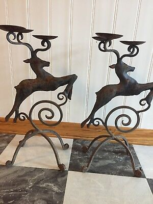 Vintage DEER STAND CANDLE STICK HOLDER ANIMAL  ANTLERS FIGURINE DECOR USA