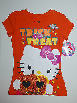 Halloween~T-Shirt~USA~128-134~Hello Kitty~ORANGE~Glitter~Katze~Kürbis~Mädchen~w