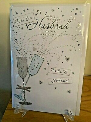 Cute Anniversary Card To My Husband Male Celebrations - Silver Foil & Glitter