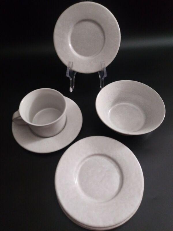 Set 7 pc Bennington Potters Vermont Agate White on White 5 Saucers/1mug/1 bowl