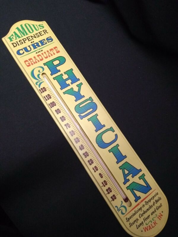 """VINTAGE PHYSICIAN 1967 WOODEN LARGE THERMOMETER - YORKRAFT 26""""X 5"""""""