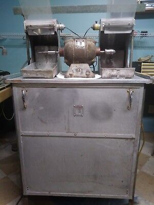 Handler Polishing Unit With Lathe And Two Hoods Used