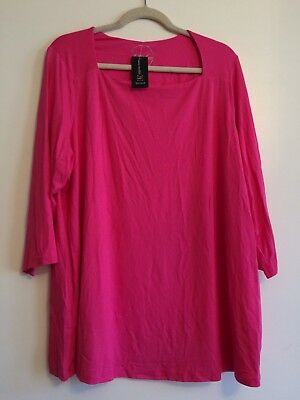 Macys Inc Square Neck Tee Top Blouse Plus 2X Bright Pink 3 4 Sleeve