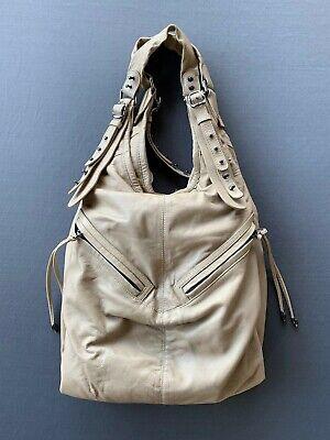CC Skye Tan Leather Hobo Bag with Black Metal Details
