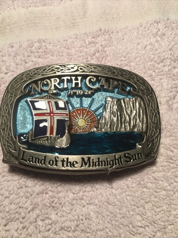 Vintage 1991 Norway North Cape 71 10 21 Land of the Midnight Sun Belt Buckle
