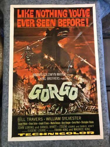 "GORGO 1961 ORIGINAL 1 SHEET MOVIE POSTER 27""x41"" (F/VF+) MONSTER SCI-FI THRILLER"