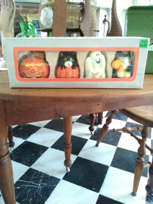 Halloween Decorative Candles Vintage Set of 4 in Box Pumpkin Witch Cat Ghost