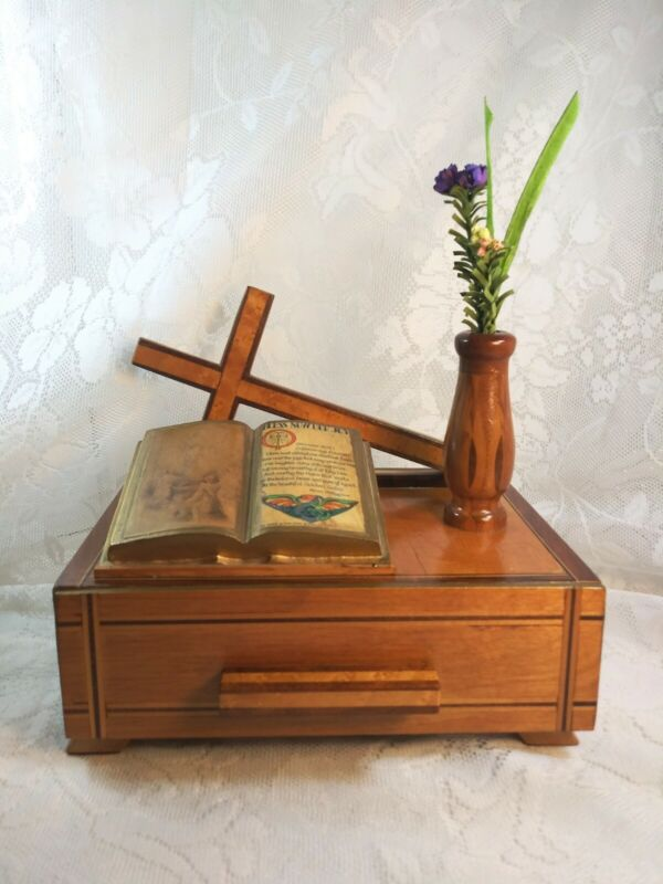 OOAK Handmade Inlaid Wooden Box /Inlaid Cross / Inlaid Vase and Built in Drawer