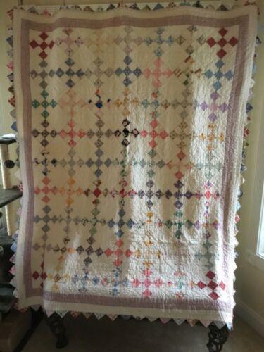STUNNING 1930's NINE 9-PATCH Quilt w/ Floral FEEDSACKS & AMAZING SAWTOOTH EDGE!