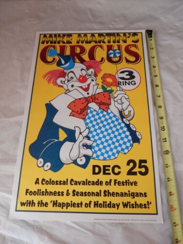 """Vintage 17"""" X 11"""" Mike Martins Christmas Circus Poster/Flyer Featuring a Clown"""