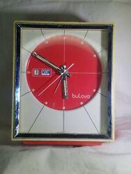 Vintage Bulova Wind Up Alarm clock Red Tested works
