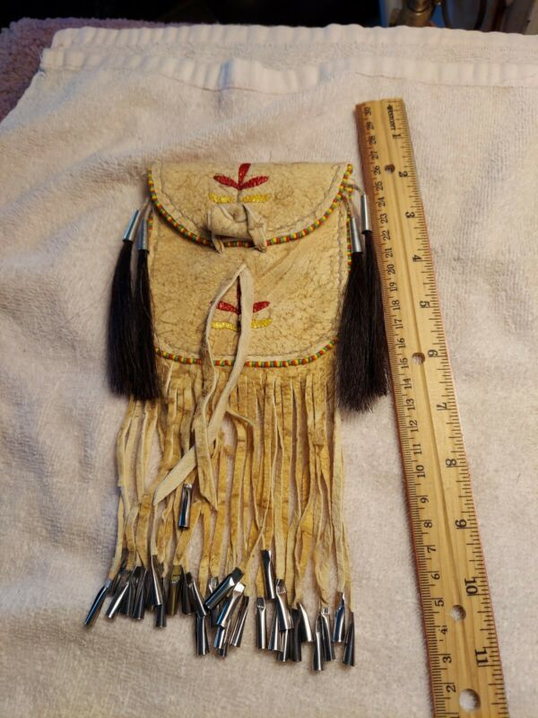 Hand Tanned Leather & Quilled Neck Pouch