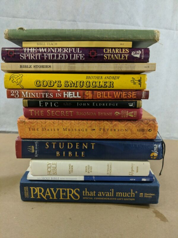 Lot of 13 Religious Study Books and Bibles C11