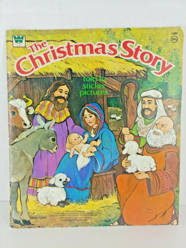 THE CHRISTMAS STORY Told In Sticker Pictures Book Whitman