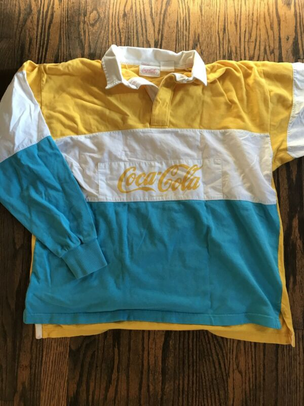 Vintage 80s Coca Cola  Rugby Polo Shirt Color Block Yellow and Teal XL