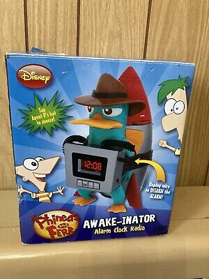 Disney's Phineas and Ferb Awake-inator Alarm Clock Radio IOB Excellent Condition