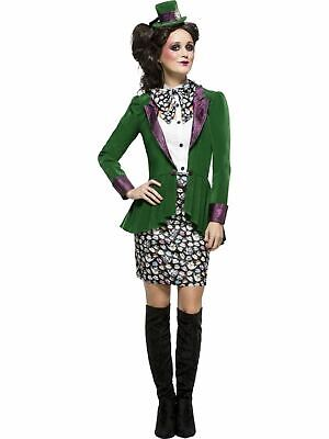 Mad Hatter Tea party Womens Costume Ladies Fancy Dress Outfit Fairytale Story