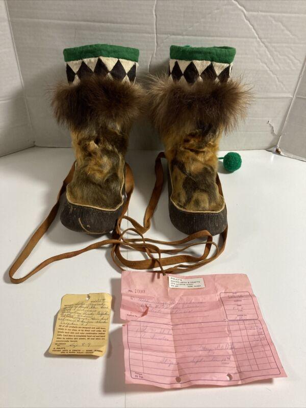 Vintage 1966 Polet's Alaskan Eskimo -  Hide Mukluks nice for over 50 years old