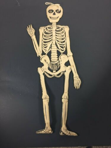 "Vintage Diecut Embossed Halloween Skeleton Decoration 19.5"" Germany"