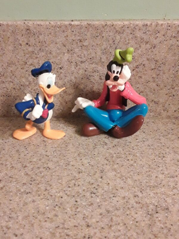 Disney Donald Duck Goofy Figure Lot Collectible Kids Toy Cake Topper Play Clean