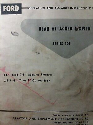 Ford Tractor Three-point Hitch Sickle Mower Ser 501 Owner Service Parts Manual