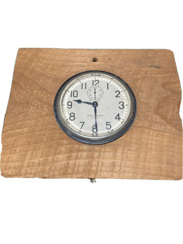 Early Waltham 8 Day Car Auto Clock With Silver Dial and Black Numerals