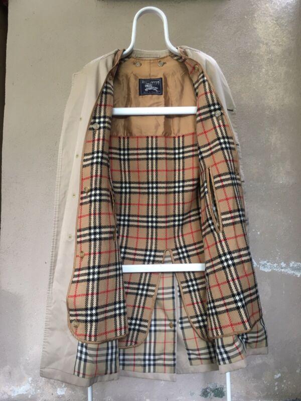 Vintage Burberrys Trench Coat Single Breasted Wool Lining Jacket Women Long