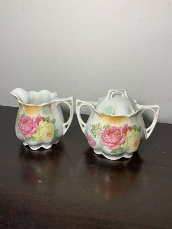 Antique Made In Germany Rose Creamer And Sugar Set