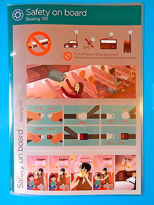 Virgin Atlantic Airlines Safety Card  747 400  New Edition