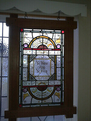 Antique Stained Glass Panel Ye Wind and Ye Sun in Arts and Crafts Style Mount