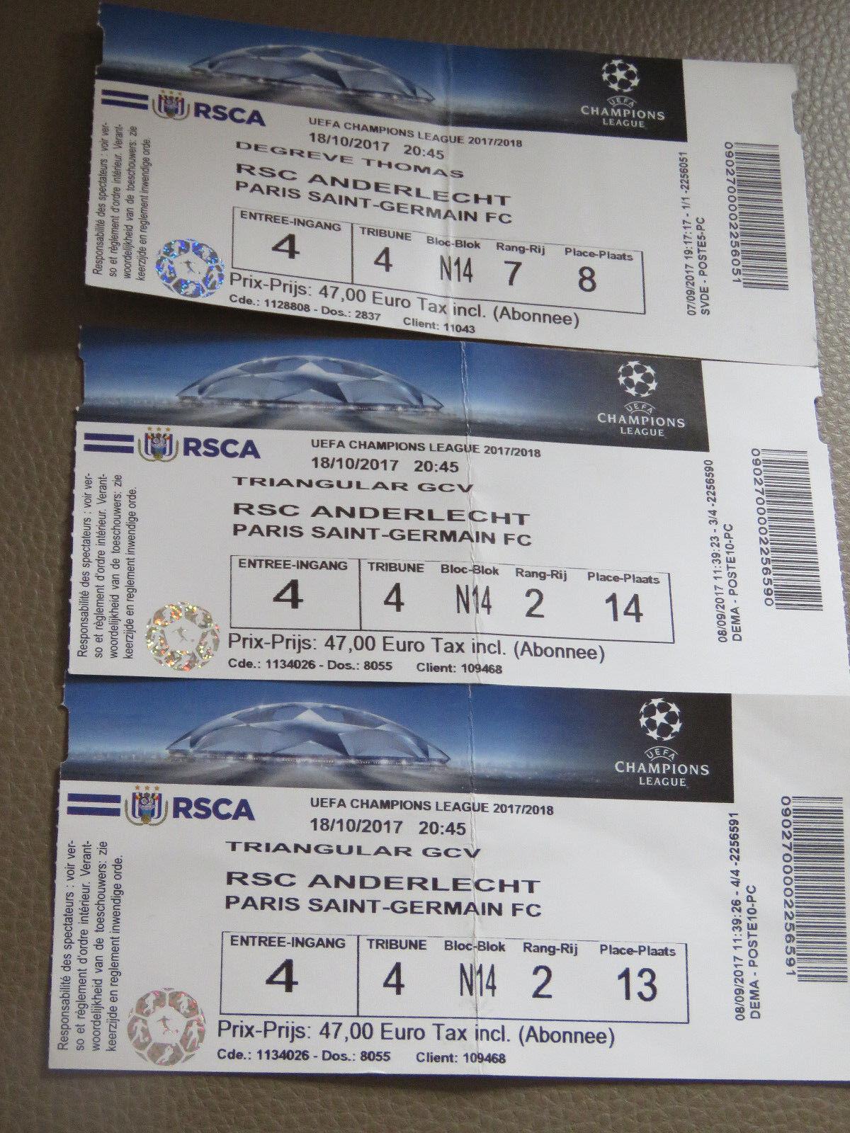 3 Tickets: Anderlecht - PSG Paris Saint-Germain UEFA Champions League (18-10-17)