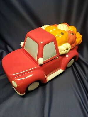 Ceramic Autumn Fall Harvest Red Truck Pumpkins Cookie Jar Canister Hand Painted