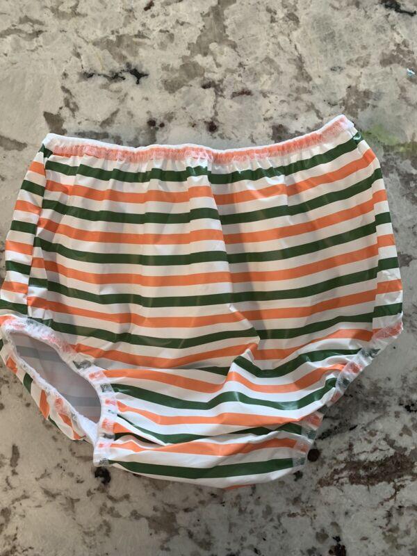 Gerber 12-18 Month Plastic Pants VINTAGE diaper cover Green Orange Stripe
