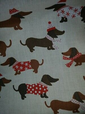 Dachshund Sausage Dog Christmas Polycotton fabric 1 metre for sale  Cheltenham