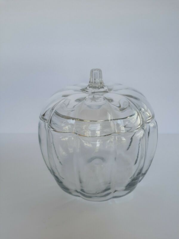 Anchor Hocking Glass Pumpkin candy cookie decorative jar with lid