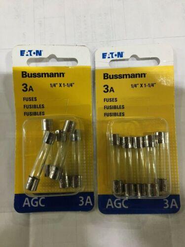 EATON BUSSMANN 3A AGC FUSES BP/AGC-3-RP