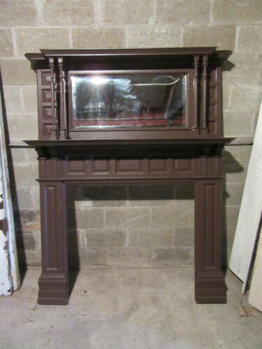 ~ TALL ORNATE ANTIQUE FIREPLACE MANTEL ~ 58 X 73 ~ ARCHITECTURAL SALVAGE
