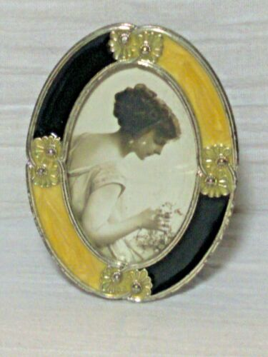 Vintage Art Deco Yellow and Back Enamel Mini Oval Picture Frame Silver Ornate