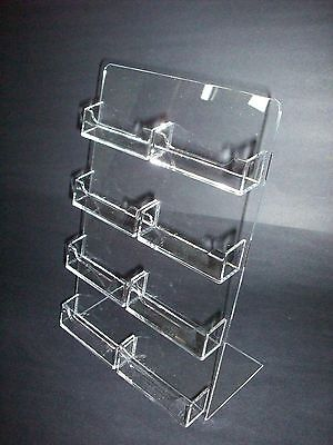 8 Multi Pocket Clear Plastic Acrylic Business Card Holder Countertop Desktop Azm
