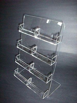 8 Multi Pocket Clear Plastic Acrylic Business Card Holder Countertop Desktop Azm