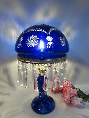 VINTAGE BOHEMIAN CZECH CRYSTAL CUT TO CLEAR TABLE LAMP W/PRISMS 19""