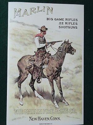Marlin Firearms Advertising Poster Frederic Remington Artist, Cowboy on Horse
